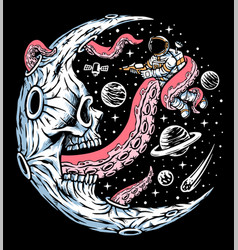 Astronaut attacked moon monsters vector