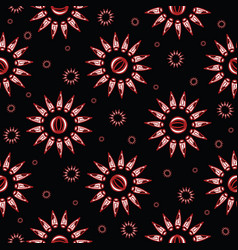 black bohemian sunburst floral pattern vector image