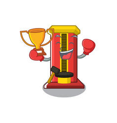Boxing winner hammer game machine with cartoon vector