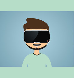Boy in virtual reality glasses vector