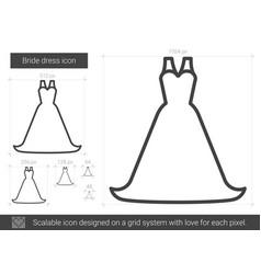 Bride dress line icon vector