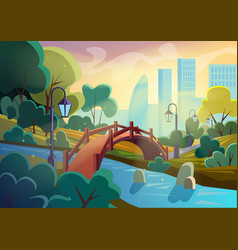 bright image of summer autumn cartoon park vector image