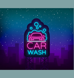 Car wash logo design in neon style vector