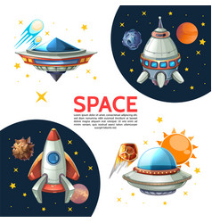 cartoon colorful space poster vector image