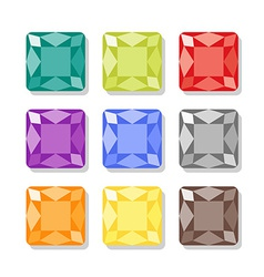 Cartoon square gems icons set vector