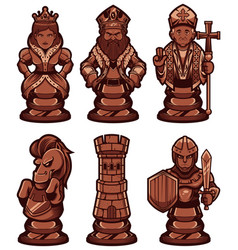 chess pieces set black vector image