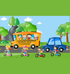 Children on bus and bike vector