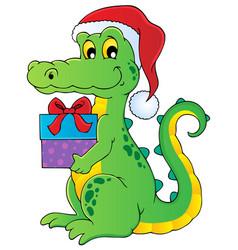 Christmas crocodile theme image 1 vector