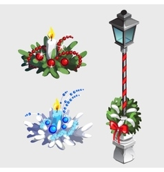 Classic street lamp and Christmas decorations vector image