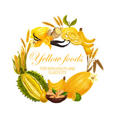 Color diet yellow food nutrition fruits spices vector