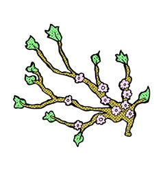 comic cartoon flowering branch vector image