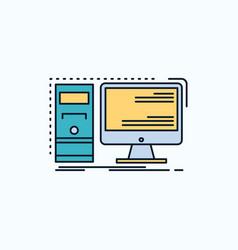 computer desktop hardware workstation system flat vector image