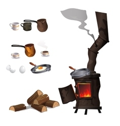 Cooking eggs and coffee on ancient rusty stove vector