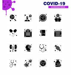 corona virus disease 16 solid glyph black icon vector image