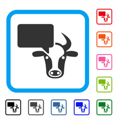 Cow opinion framed icon vector