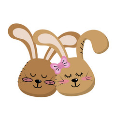 Cute animal couple rabbit head together vector