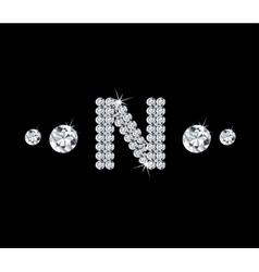 Diamond alphabetic letter N vector image