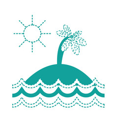 dotted shape island with palm tree with sun and vector image