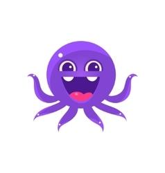Ecstatic funny octopus emoji vector