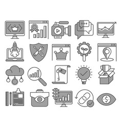 Eo and web optimization icons vector