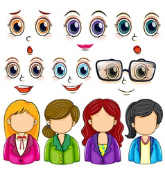Expressions and faces vector image