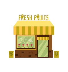 Facade a cute fresh fruit store with an awning vector