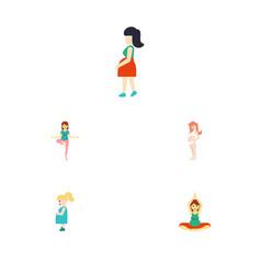 flat icon pregnancy set of pregnancy yoga pose vector image