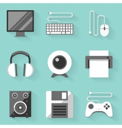 Flat icon set Computer White style vector image