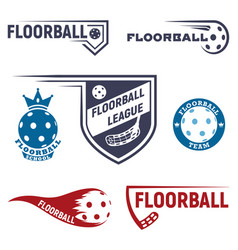 Floorball logo for team and cup vector