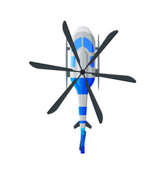 Flying white and blue helicopter view from above vector