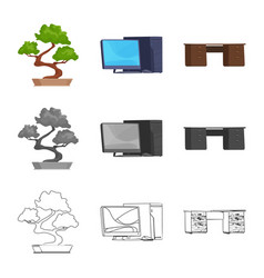 Furniture and work symbol vector