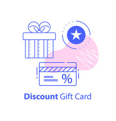 Gift box and discount card loyalty program vector