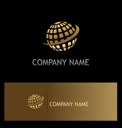 globe sphere digital technology gold logo vector image