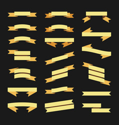 Gold flat style ribbons banners set vector