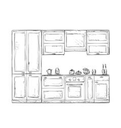 Hand drawn kitchen furniture vector