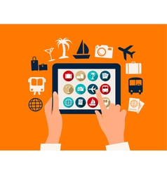 Hands touching a tablet with vacation and travel vector