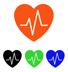 Heart ekg flat icon vector