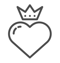 heart with crown line icon valentines heart vector image