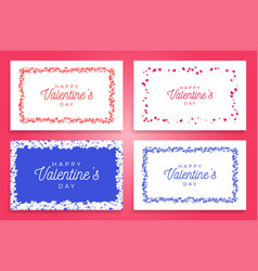 hearts frame set abstract love for your vector image