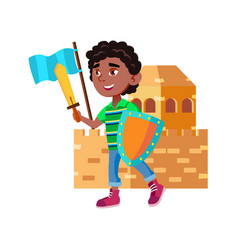 Heroic boy playing knight game with friends vector