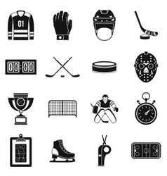 Hockey icons set simple style vector