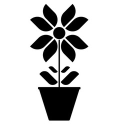 image of black and white flower icons in a pot on vector image