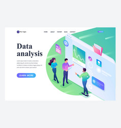 isometric young people stand and analyze data vector image