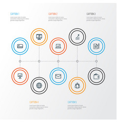 Job outline icons set collection of growing chart vector