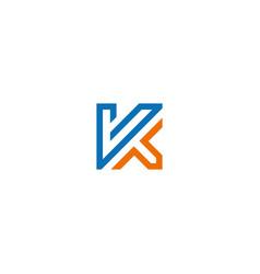 k initial line logo vector image