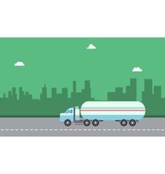 Landscape of road tanker on city backgrounds vector image