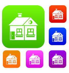 Large single-storey house set collection vector