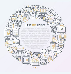 Law and justice concept in circle vector