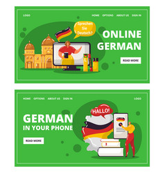 Learning german language online with teacher vector
