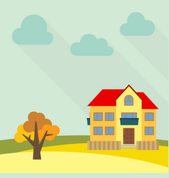 lone two-storey house in a field vector image